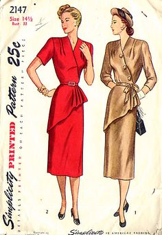 The surplice bodice, styled with tucks at the front shoulder, is fitted with darts at the back shoulder and gathers at the front and back waistline. The peplum flare is formed by soft pleats at the left side and the slim skirt is seamed down the center back. In Style 1, buttons trim the surplice and three-quarter sleeves and a tie belt finish the dress. In Style II, the sleeves are short and a purchased or self belt may be used. Style III has long sleeves, a tie belt and buttons at the front…