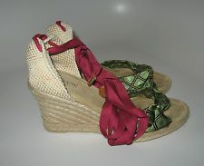 J. CREW Espadrilles Green Brocade front & Silk Leather tipped Ankle ribbons-Sz 7