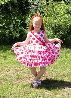 Girls white/red polka dot ruffle dress by FamilyInspiredFashun