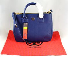 Tory Burch Handbag  (Robinson Double Zip Cobalt Blue Tote Bag)