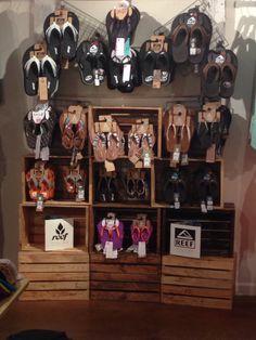 Tiger Lilys Boutique displaying Reef Sandals.  Retail display using crates