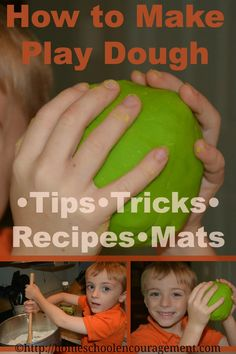 Make playdough with these 15 recipes, tips, tricks and 15 sweet playdough mats.