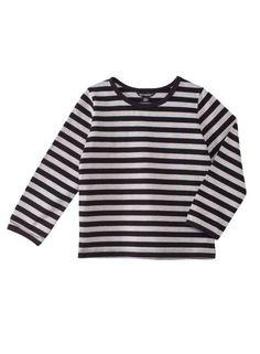 Arjen mukavuutta. Klassisessa Lasten Pitkähiha 3 -paidassa on rehtejä harmaita ja mustia raitoja. Paidassa on pyöreä pääntie ja pitkät hihat, joissa kaikissa on nauhareunukset, sekä lantiopituinen helma. Materiaali 100 % puuvillatrikoota.