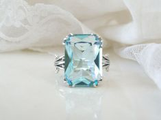 Vintage Style 12ct Aquamarine Sterling Silver 925 Cocktail Solitaire Ring 10 #estate #Cocktail #Birthday Sterling Jewelry, Gemstone Jewelry, Sterling Silver Rings, Estate Rings, Square Rings, Ring Shapes, Light Reflection, Solitaire Ring, Wholesale Jewelry