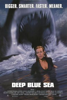 Deep Blue Sea , starring Thomas Jane, Saffron Burrows, Samuel L. Jackson, Jacqueline McKenzie. Searching for a cure to Alzheimer's disease a group of scientists on an isolated research facility become the bait as a trio of intelligent sharks fight back. #Action #Sci-Fi #Thriller
