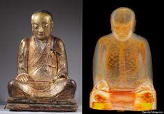 x ray scan finds mummy inside of Buddha statue.
