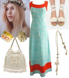 Festival fashion: Can't you see yourself floating around in the 'Talullah Dress'?  Some woven accessories in soft white go nicely with the pops of red in the dress.  And why not put a flower crown in your hair?  When in Rome!