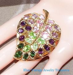 Vintage KJL Kenneth Jay Lane Multi Color Crystal Leaf Gold Pin Pendant #KJL