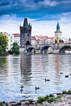The Charles Bridge across the Vltava river, Prague, uncredited Places Around The World, Oh The Places You'll Go, Travel Around The World, Places To Travel, Places To Visit, Around The Worlds, Budapest, Pont Charles, Charles Bridge