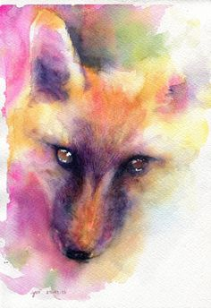 Wolf (sorry, looks like a fox to me!) original watercolor painting 75x11 inches by WaysideBoutique, $18.00