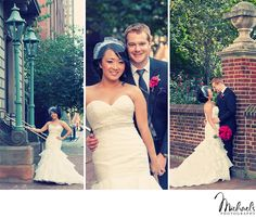Cute downtown Bride & groom portraits at Washington Square Park in Philadelphia.   Photos by Michael's Photography in Bensalem, PA.