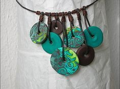 Polymer clay mokume gane necklace, nelice.over-blog.com