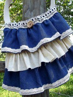 Crochet Denim Tote Shabby Rustic Bag Denim and Yellow by Abbtique