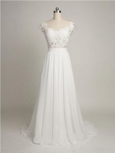 Simple A-line Cap Sleeves Sweetheart Long Chiffon Wedding Dress with Lace-1