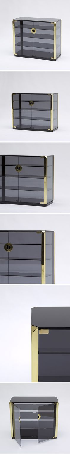 Mario Sabot, smoked Glass, stereo, cabinet