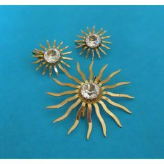 """Starburst Jewelry Set, Sarah Coventry """"Fascination Vintage Brooch Pin... (£18) ❤ liked on Polyvore featuring jewelry, brooches, pin jewelry, vintage retro jewelry, vintage broach, vintage jewelry sets and retro jewelry"""