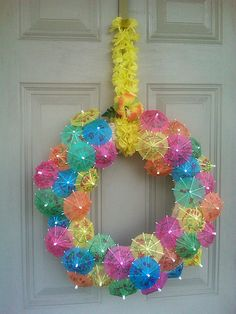 Party wreath - I feel that there needs to be a swim up pool bar for the parents, to accompany the theme...