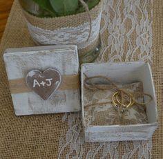 Wedding Ring Box Ring Bearer Pillow Shabby Chic Rustic Burlap Lace Wedding