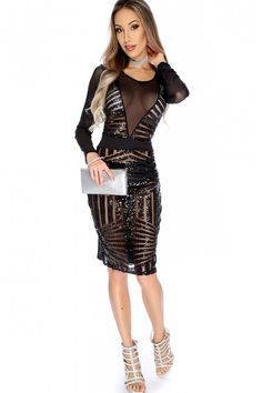 Sexy Black Sheer Long Sleeve Sequin Detailed Party Dress