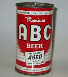 ABC PREMIUM  BEER ,Chicago ~ 1954 Beer Can Collection, Old Beer Cans, Premium Beer, Beer 101, Beer Brands, Best Beer, Craft Beer, Whisky, Coca Cola