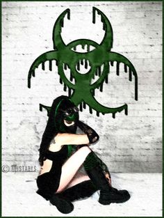 nuclear war, cybergoth image, model Mistabys. post apocalyptic cyber-goth / cyberpunk fashion style and atmosphere.