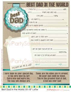 """instant download.... DIY Printable 8"""" x 10"""" Father's Day Letter or Birthday Letter for Dad, DAD's Gift - Print for Dad"""