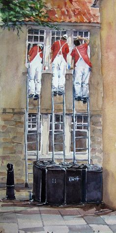 Formation painting - Fife style  © Walter S Watson  walterwatsonart.com  Watercolour of three house painters in St Andrews