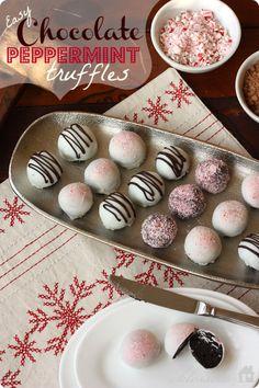 Easy Chocolate Peppermint Truffles | MyBlessedLife.net #easyholidayideas