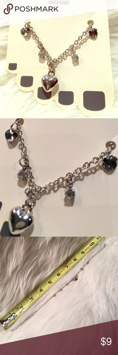 Silver Heart with crystal baubles anklets Brand new in package. Adjustable with claw closure. Jewelry