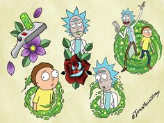 Rick and Morty tattoo designs available. Email me to claim for yourself, deposit is required. Rick And Morty Drawing, Rick And Morty Tattoo, Tatuaje Rick And Morty, Ricky Y Morty, Rick And Morty Stickers, Rick And Morty Poster, Tattoo Flash Sheet, Traditional Tattoo Art, Tatuagem Old School