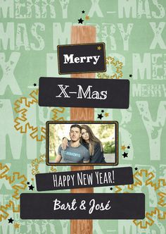 Kerst groen paal foto, verkrijgbaar bij #kaartje2go voor €1,89