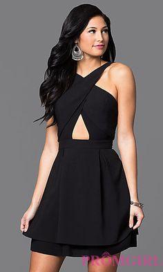 243585343ee04 Cross Over Open Back Short Dress. Black ...