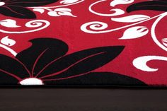 Red Black Floral Transitional Area Rugs