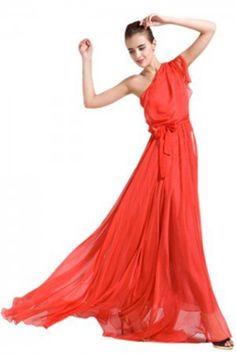 Beautifly Women's Draped One Shoulder Maxi Ball Gown with Sash