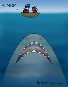 """Kisame... WTF?!"" ""... It was a joke..."" ""... You honestly don't know, do you?"" ""Know what?"" ""..... Big shark equals death!"" ""Oh, no, that's my shark."" ""... Send it away."" ""Why?!"" ""Big shark will die if you don't send it away!"" ""Go away Whitey! It won't budge."" ""Whitey? That's a stupid name for a Great White Shark."" ""..... What would you name i-"" ""Stupid. Or Killer... But, Stupid."" ""Why'd I even ask...?"" ""Because you knew the answer, but wanted to hear it from my mouth."" ""..."" - Makkura…"