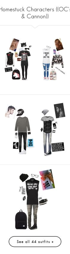 """""""Homestuck Characters ((OC's & Cannon))"""" by donut-boi on Polyvore featuring Ray-Ban, Lilly Pulitzer, H&M, Anya Hindmarch, Forever 21, Happy Plugs, Converse, Topshop, WithChic and Private Party"""