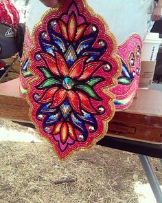 A crown I made, I'm quite proud of! #nativeamericanbeadwork #red #gold Native American Regalia, Native American Beadwork, Native American Art, Powwow Beadwork, Native Beadwork, Jingle Dress, Beadwork Designs, Beading Projects, Floral Patterns