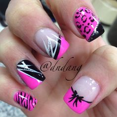 Nail ideas black 'n' pink