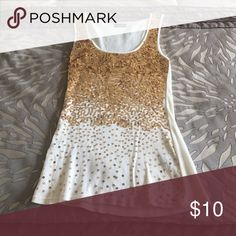Gold sequin tank Great condition worn maybe twice. Beautiful gold waterfall of sequins, fitted and perfect for New Year's Eve or just a night out! Tops Tank Tops