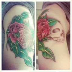 On my right shoulder, rose and skull