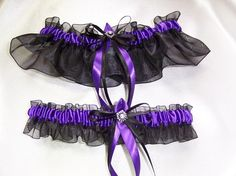 Black and Purple Wedding Garter  #goth wedding ... Wedding ideas for brides & bridesmaids, grooms & groomsmen, parents & planners ... https://itunes.apple.com/us/app/the-gold-wedding-planner/id498112599?ls=1=8 … plus how to organise an entire wedding, without overspending ♥ The Gold Wedding Planner iPhone App ♥