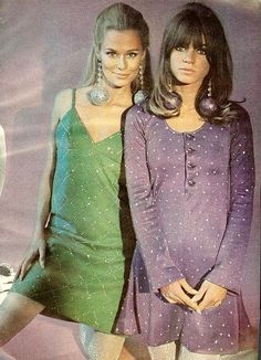 60's party girls    From Mademoiselle, November 1966. Model in green is Lauren Hutton