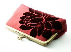 Silk Lining Floral Clutch Bag Purse in Burgundy by PreciouslyMe, $85.00