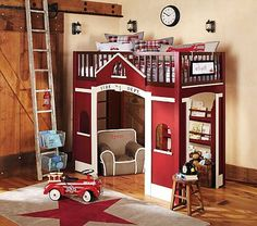 Firehouse Loft..This bed is awesome if it's a twin for when he outgrows his firetruck todder bed, if he wants another firetruck bed that is!
