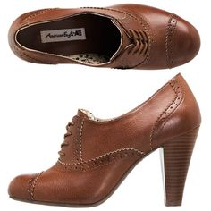 oxford for less-payless shoes/ american eagle Pretty Shoes, Cute Shoes, Me Too Shoes, Brown Oxfords, Brown Booties, Bootie Boots, Shoe Boots, Ankle Boots, Oxford Shoes Heels
