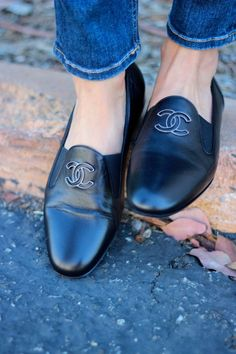 Chanel Tuxedo Loafers with Jeans