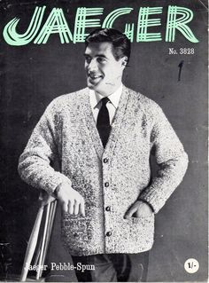 "vintage mens jacket knitting pattern PDF mens v neck cardigan textured 38-44"" aran worsted 10ply instant download by coutureknitcrochet on Etsy"