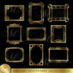 Gold ART DECO FRAMES Digital Clipart, Instant Download, Vintage Design Elements Antique Borders Clip Art
