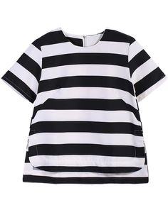 Black Contrast White Striped Dipped Hem Top