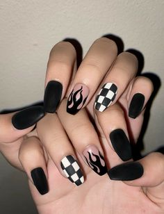 Edgy Nails, Grunge Nails, Dope Nails, Stylish Nails, Trendy Nails, Swag Nails, 90s Grunge, Acrylic Nails Coffin Short, Simple Acrylic Nails